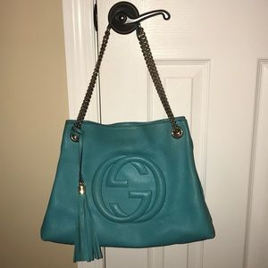 Gucci Soho Chain Leather Hobo Shoulder Bag Purse